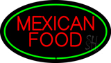 Red Mexican Food Oval Green LED Neon Sign
