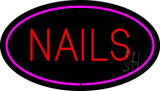 Red Nails Oval Pink LED Neon Sign
