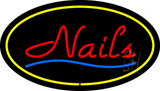 Red Nails Oval Yellow LED Neon Sign