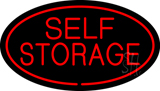 Red Self Storage Oval LED Neon Sign