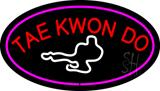 Tae Kwon Do Logo Oval Purple LED Neon Sign