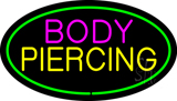 Oval Pink Body Green Piercing Neon Sign