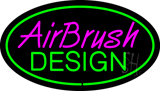 Airbrush Design Oval Green LED Neon Sign