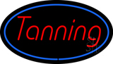 Tanning Oval Blue Border LED Neon Sign