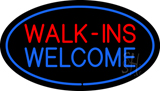 Oval Walk Ins Welcome Blue Border LED Neon Sign