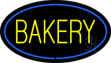 Yellow Bakery Oval Blue LED Neon Sign