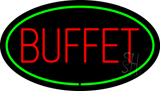 Buffet Oval Green LED Neon Sign