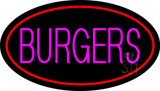 Pink Burgers Oval Red LED Neon Sign