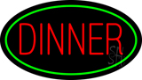 Red Dinner Oval Green LED Neon Sign