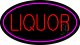 Oval Red Liquor Pink Border LED Neon Sign