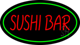 Sushi Bar Oval Green LED Neon Sign