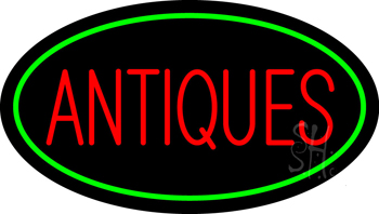 Antiques Green Oval LED Neon Sign