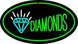 Diamonds Logo Green Oval LED Neon Sign