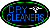 Blue Dry Cleaners Logo Oval Green LED Neon Sign