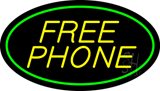 Yellow Free Phone Oval Green LED Neon Sign