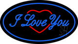 I Love You Logo Oval Blue LED Neon Sign