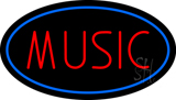 Red Music Blue Oval LED Neon Sign