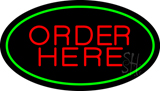 Order Here Oval Green LED Neon Sign
