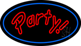 Party Oval Blue Neon Sign
