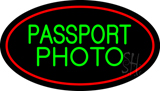 Green Passport Photo Red Oval LED Neon Sign