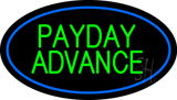 Green Payday Advance Oval Blue Border LED Neon Sign