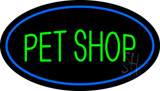 Pet Shop Oval Blue LED Neon Sign