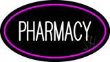 White Pharmacy Pink Oval Border LED Neon Sign