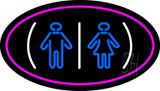 Restrooms Logo Oval Pink LED Neon Sign