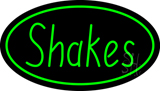 Shakes Oval Green LED Neon Sign