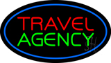Travel Agency Blue Oval LED Neon Sign