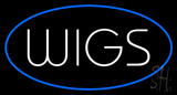 Wigs Oval Blue LED Neon Sign