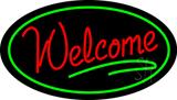 Welcome Oval Green LED Neon Sign