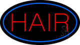 Hair Oval Blue LED Neon Sign
