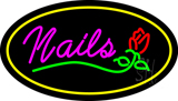 Nails with Flower Logo Oval Yellow LED Neon Sign