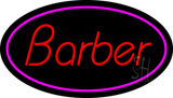 Oval Red Barber with Pink Border LED Neon Sign