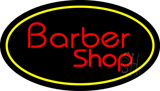 Red Barber Shop Oval Yellow Border LED Neon Sign