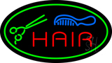 Oval Hair with Comb and Scissor LED Neon Sign