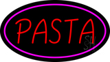 Red Pasta Oval Pink Border LED Neon Sign