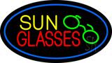 Sun Glasses Oval Blue LED Neon Sign