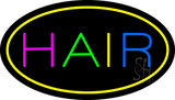 Multicolored Hair Oval Yellow LED Neon Sign