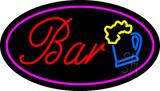 Purple Oval Bar w/Beer Mug LED Neon Sign