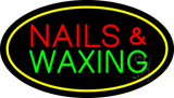 Nails and Waxing Oval Yellow LED Neon Sign