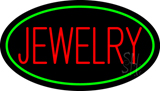 Jewelry Block Oval Green LED Neon Sign