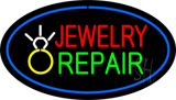 Jewelry Repair Oval Blue Neon Sign