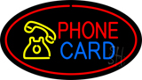 Phone Card Oval Red LED Neon Sign