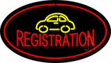 Auto Registration Oval Red LED Neon Sign