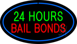 24 Hours Bail Bonds Oval Blue LED Neon Sign