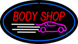 Body Shop Blue Oval LED Neon Sign