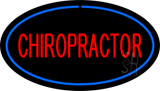 Red Chiropractor Oval Blue LED Neon Sign