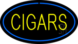 Yellow Cigars Blue Oval LED Neon Sign